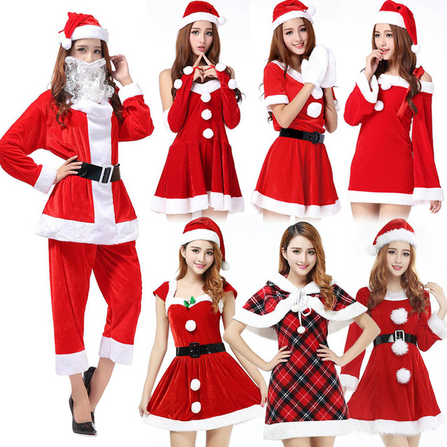 womens christmas costumes adult red santa claus outfit big sale miss santa role play xmas santa