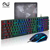 Backlight Gaming Keyboard Mouse Combo 26 Anti-ghosting USB Wired Rainbow English Game Keyboard 3200 DPI Optical for PC Gamer