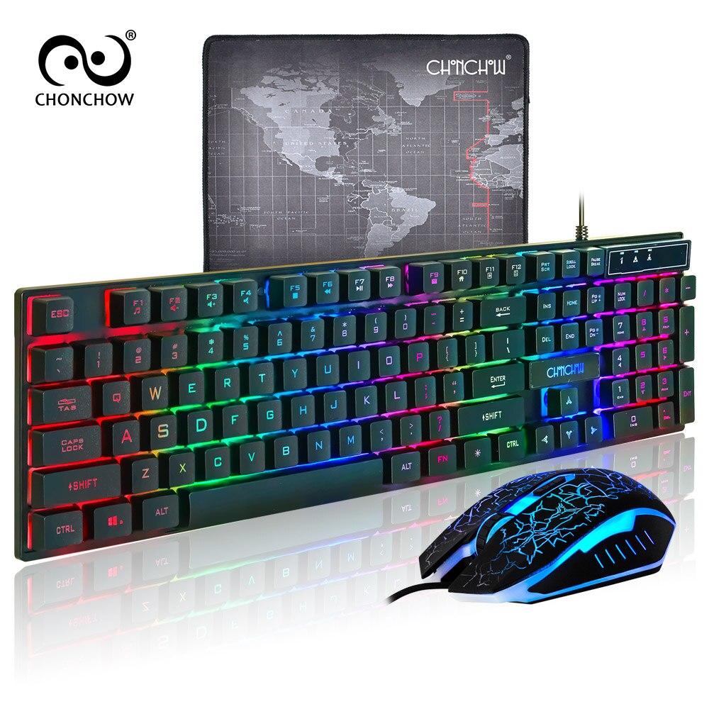 Teclado de jogo inglês do arco-íris com fio usb 3200 dpi óptico para o portátil