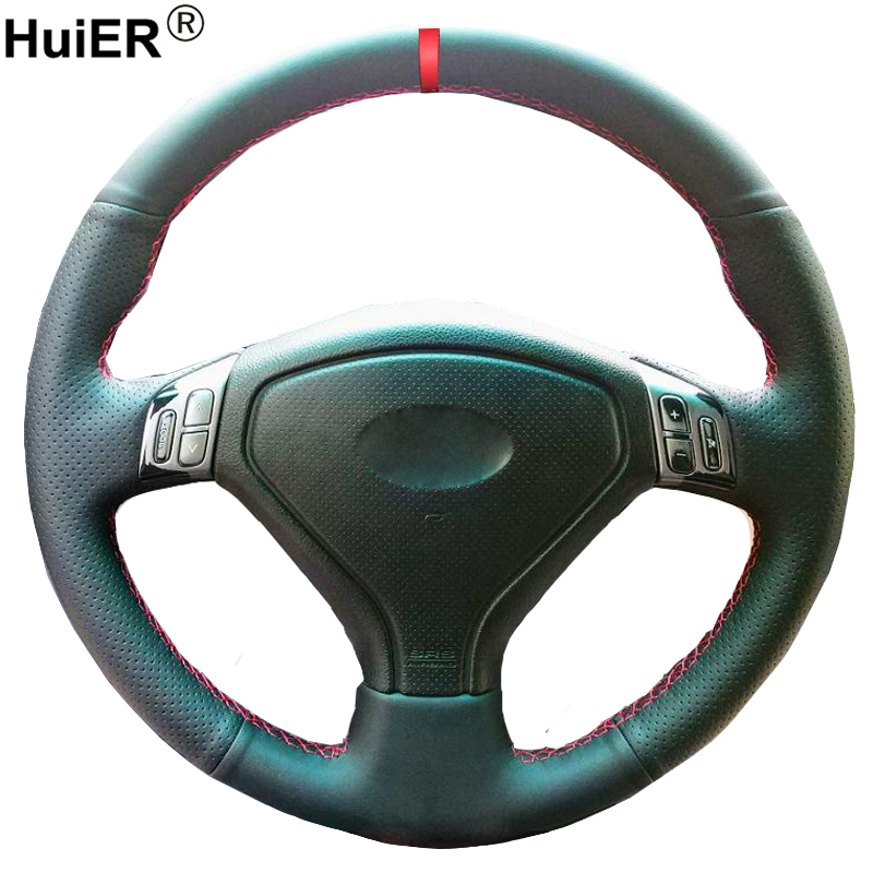 Hand Sewing Car Steering Wheel Cover For <font><b>Subaru</b></font> Forester Legacy 2004 2005 <font><b>2006</b></font> <font><b>Outback</b></font> 2004 2005 Braid on the Steering wheel image