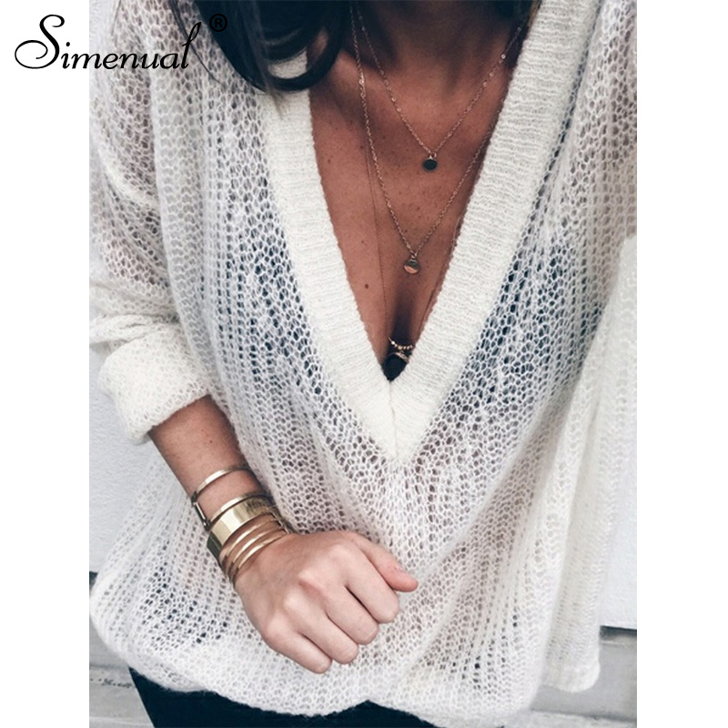 Simenual Sweater Women Pullovers Jumpers Knitted Hollow-Out-Spring Deep-V-Neck Plus-Size