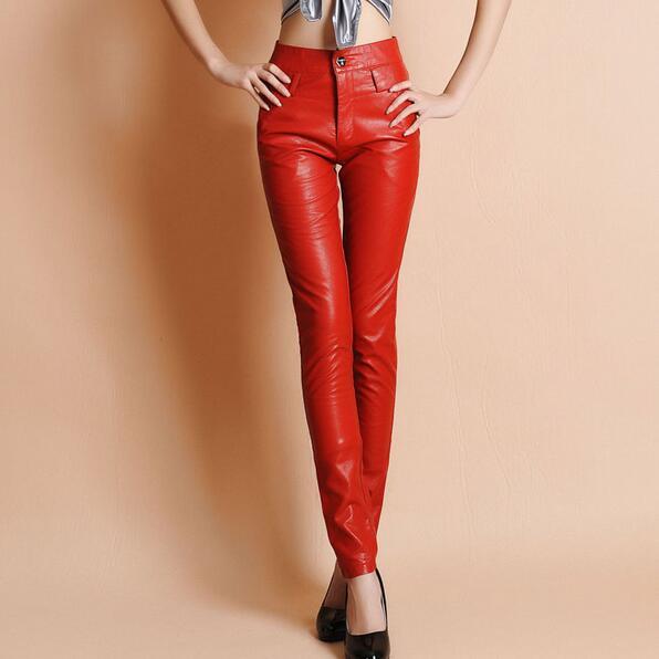 Slim Pantalones Sexy Tamaño negro Invierno Largo De Pu Cuero Formal Ah494 Otoño Más Mujeres Cintura Rojo 2018 Alta HaXqfq