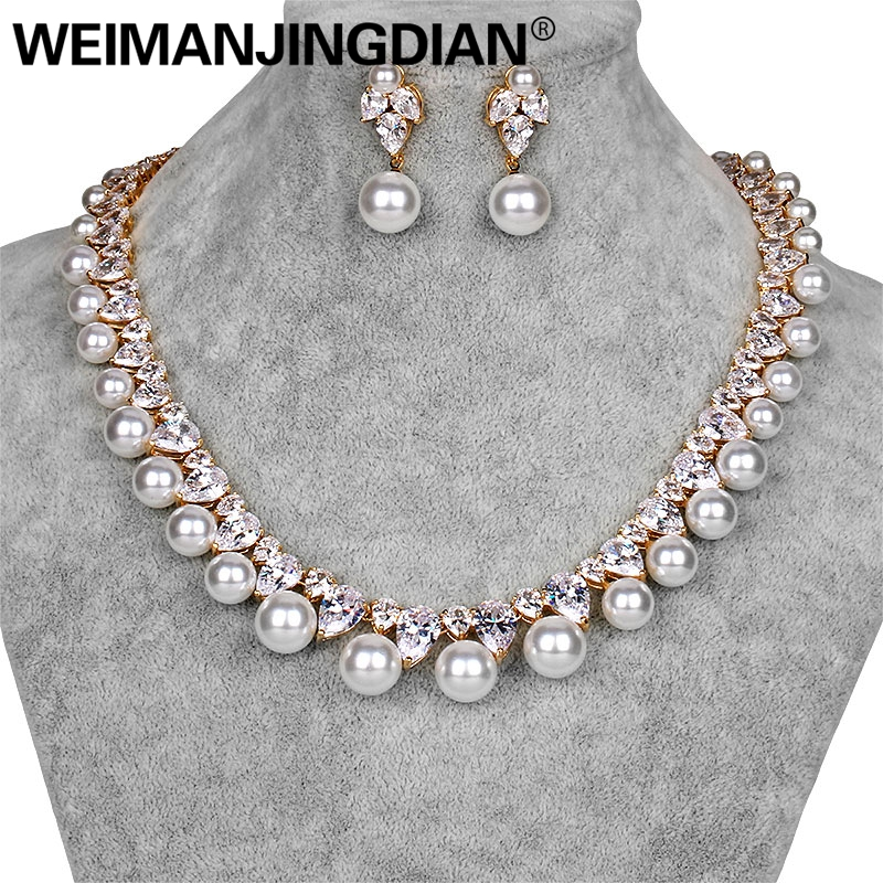 WEIMANJINGDIAN Gold / Silver Colors Cubic Zirconia and Shell Pearl Necklace Earring Jewelry Set for Wedding or Mother's Gifts weimanjingdian red blue clear teardrop and flower cubic zirconia crystal necklace and earring set for wedding or party