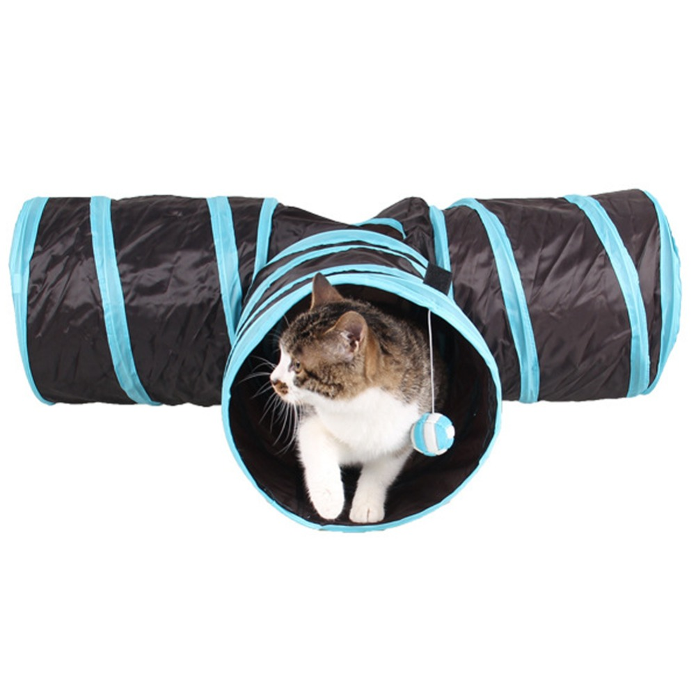Foldable 3 Holes Pet Cat Tunnel Toys Indoor Outdoor Pet Cats Training Toy Kitten Rabbit Funny Cat Tunnel House Toys image