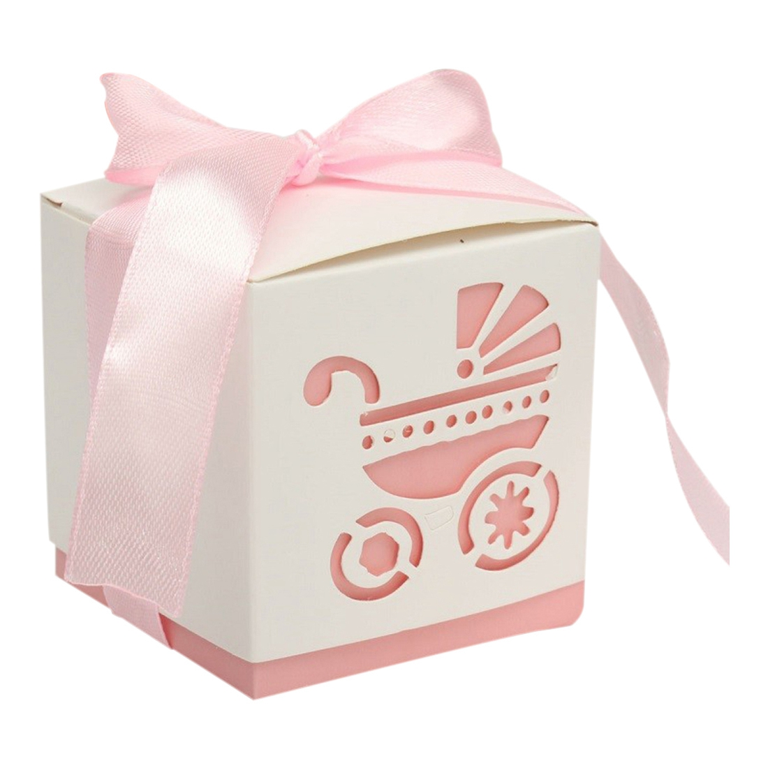 10Pcs Party Laser Cut Gift Boxes Baby Shower Candy Ribbon Carriage ...