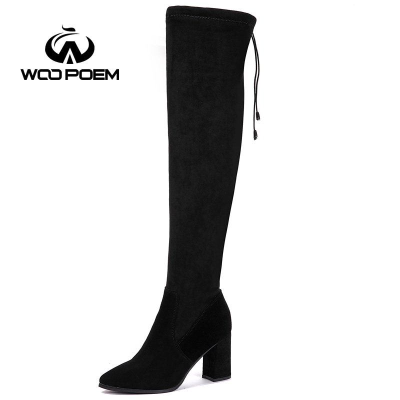 WooPoem Winter Shoes Woman Sheepskin Leather Boots high Heel Fashion Shoes Over The Knee Boots Women Boots Winter Boots 1099 woopoem brand 2017 winter shoes woman