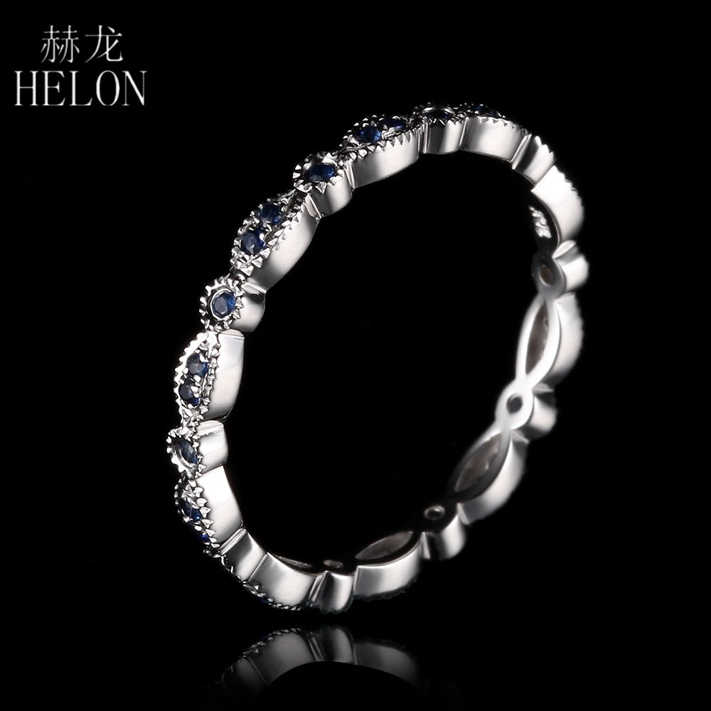 HELON Genuine Sapphires Band Solid 14K White Gold Milgrain Sapphires Gemstone Engagement Wedding Ring For Women Fine Jewelry цены онлайн