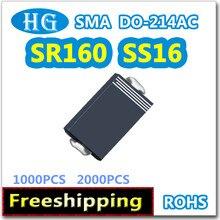 SS16 DO214 AC SMA 1000 pcs 2000 pcs 1A 60 v SR160 SB160 smd Schottky de Alta qualidade original