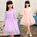Brand Princess lace dress New Arrival 2017 Spring and Autumn girls tulle dress kids clothing big girl fashion designer boutique