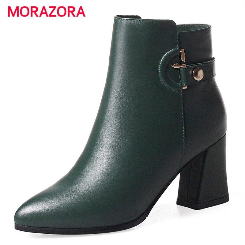 все цены на MORAZORA 2018 new fashion autumn winter square heel women boots pointed toe genuine leather boots sexy high heel zipper boots