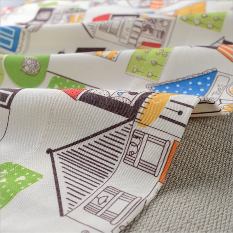 Modern Simple House Printing Curtains Polyester Cotton Cute Kids Boys Children Bedroom Living Room Drapes Panel L012C