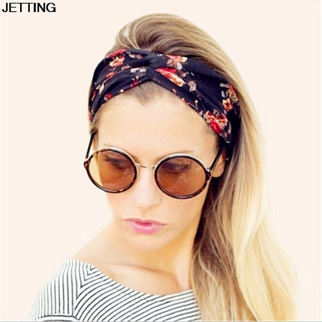 Women Bohemian Turban Twist Knot Head Wrap Floral Headband Twisted Knotted Hair  Band Cotton Turban Headband 067f8279a69