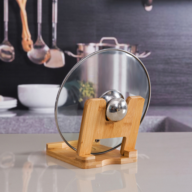 Foldable wooden pot lids holder cutting board steel lids spoon shelf pan pot rack for kitchen Supplies organization Storage rack