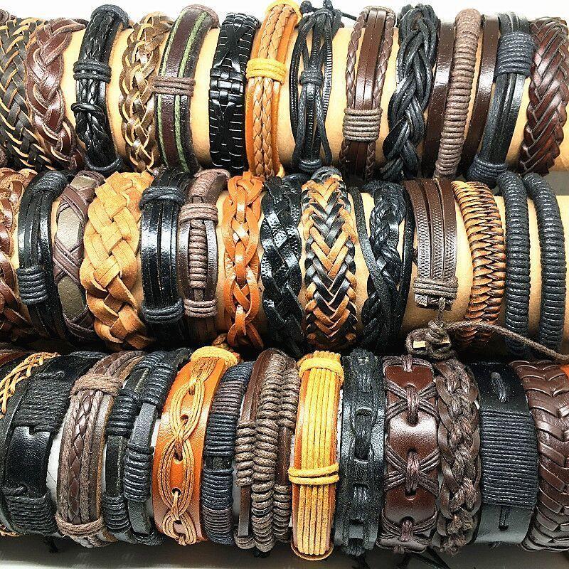 Wholesale 100pcs Leather bracelets and bangles men assorted vintage retro Genuine black charm tribal mix style
