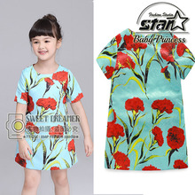 Summer Fashion Girls Dress Red Rose Party Summer Sundress Cotton Child Christmas Clothes Size 4-13T Girl Dresses Vestidos