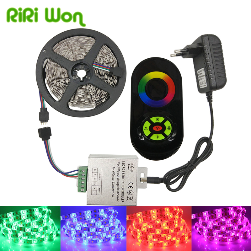 5050 RGB LED Strip Light 4M 5M 30LEDS/M SMD Diode Tape Flexible Led Ribbon With Remote Controller DC 12V Power Adapter Strip Kit led strip kit led strip light 3528 smd 20m 1200leds dc12v flexible led ribbon diode tape forrf touch remote 78w power supply