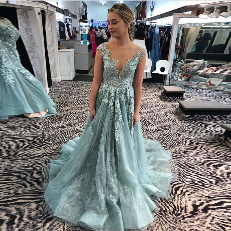 Elegant Powder Blue   Prom     Dresses   Scoop Neck Cap Sleeves A-line Vestidos De Formal Party Gowns Illusion Back   Prom   Evening   Dresses