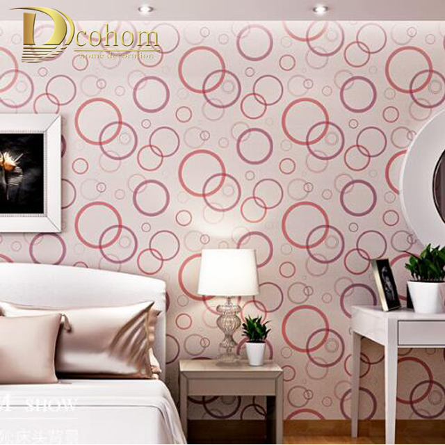 High Quality Modern 3D Circle Non Woven Wallpaper Bedroom Living Room Sofa Background Decoration 053
