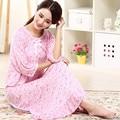 Бесплатная доставка Весна осень плюс размер 100% хлопок модальный сверхдальние ночная рубашка женская половина рукавом свободные принцесса пижамы