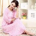 Envío libre del otoño del Resorte más el tamaño 100% algodón modal ultra largo camisón femenino de la media manga floja princesa ropa de dormir