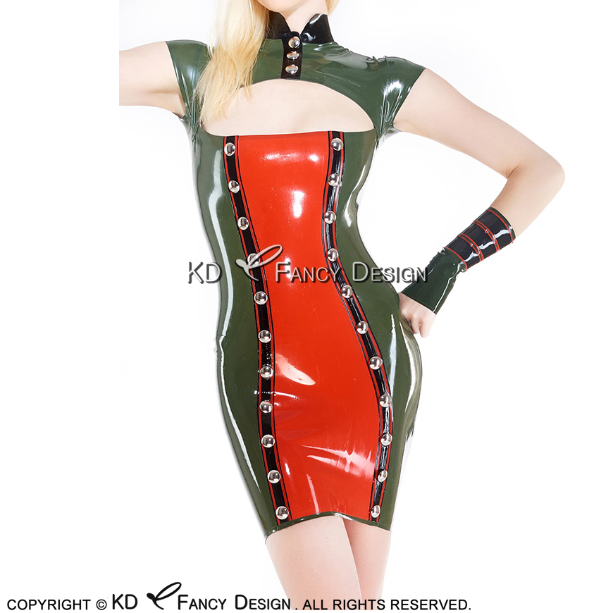 Olive Green With Black And Red Military Sexy Latex Dress With Buttons Front Zipper Back Rubber Uniform LYQ-0110