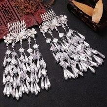 Kostium Hanfu stroik akcesoria w stylu retro do włosów długi wielowarstwowy mały świeży Fringe biżuteria imitacja Miao srebrny grzebień wkładka