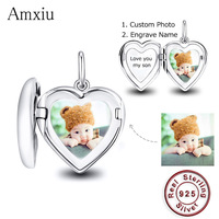 Amxiu 925 Sterling Silver Heart Charms Custom Photo Names Pendant for Women Girls Wedding Jewelry Personalized Gifts For Mother