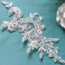 10Pcs Flower Applique Lace Patch Wedding Dress Ornament DIY Craft Supplies AIWUJIA TT542