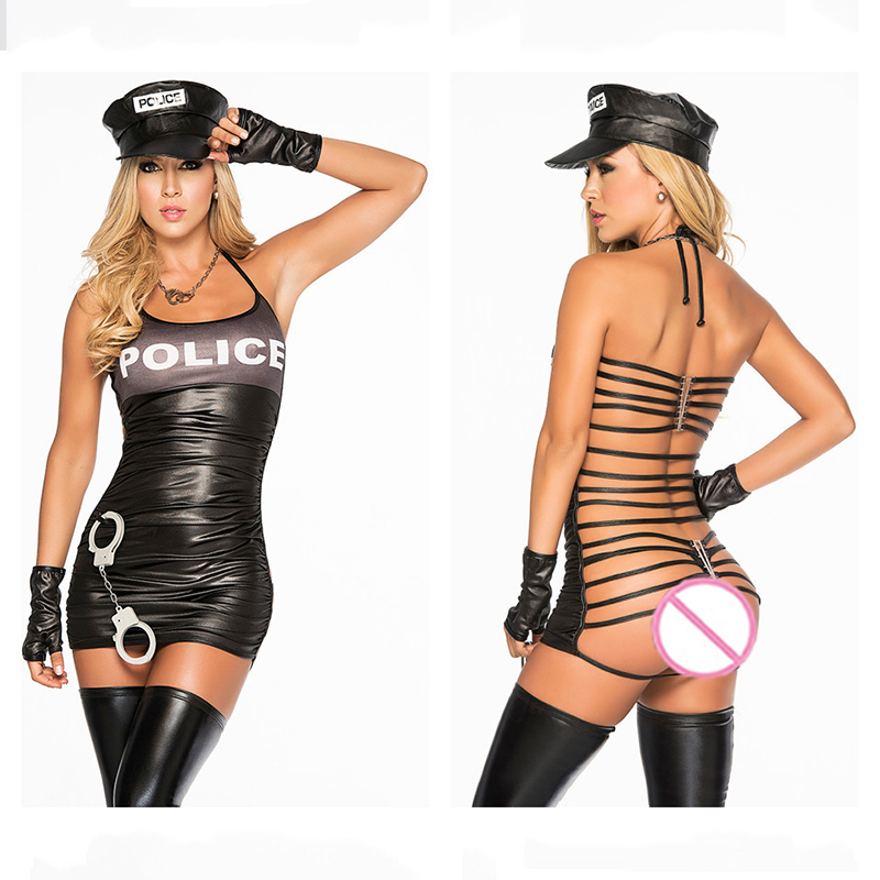 <font><b>Women</b></font> <font><b>Sexy</b></font> Police Costume <font><b>Halloween</b></font> Sex Police Woman Role Game Cosplay Fancy <font><b>Dress</b></font> Outfit image