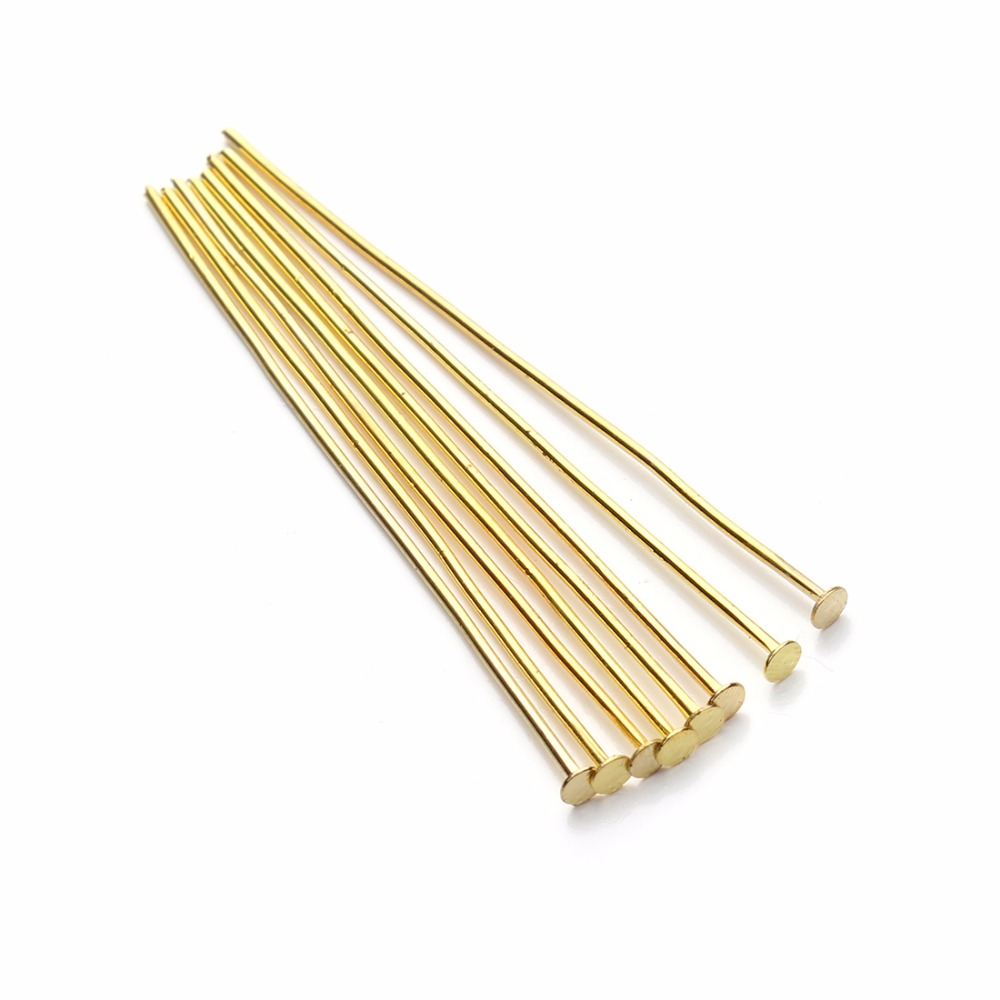 LOULEUR 200pcs bag 40 50mm Flat Head Pins 0 7mm Gold Silver Rhodium Copper Bronze Head Pins For Diy Jewelry Making Accessories in Jewelry Findings Components from Jewelry Accessories