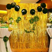 1M*2M Gold Silver Metallic Foil Tinsel Fringe Curtain Birthday Party Decoration Wedding Photography Backdrop Photo Props