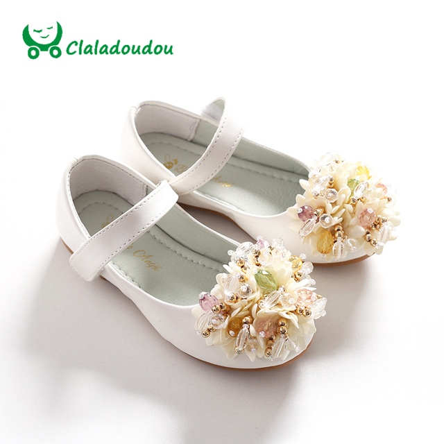 Claladoudou 2017 Girls Shoes White Princess Kids Student Footwear Children 's Pearl Flower Baby Dance Shoes Wedding Perform Shoe