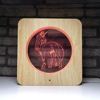 3d visual light acrylic creative table lamp gift light wood grain led bedside night light gift horse