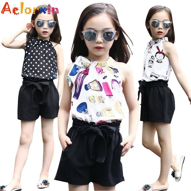 b4c70a038 Conjuntos de ropa de chifón Polka Dot chalecos y Shorts 2 piezas de verano  Camisetas de