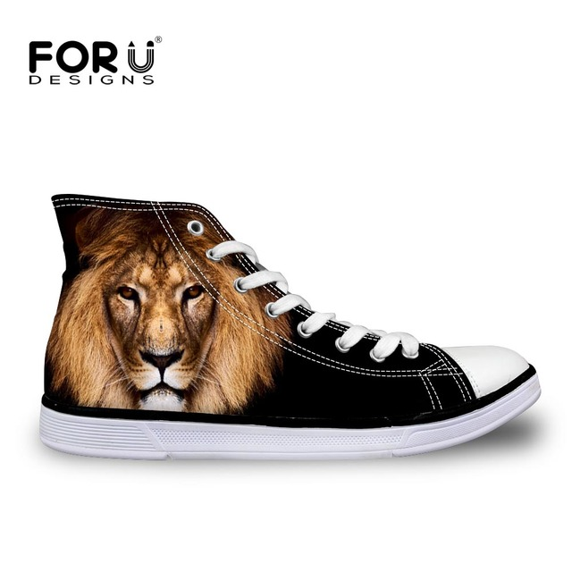 f929582c94395 US $29.99 25% OFF|FORUDESIGNS Fashion Men's Black High Top Canvas Shoes,3D  Animal Forest King Lion Printed Casual Male Lace Up Vulcanize Shoes-in ...