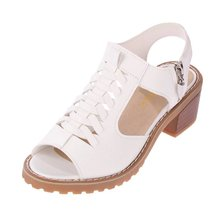 Women Shoes 2019 Vintage Elegant Mid Square Heel Women's Sandals Summer Style Peep Toe Cross Tied Side Zip Designer Shoes Woman peep toe high thin heel dark khaki women sandals ankle cross tied shoes mature style well matched clothes shoes for summer