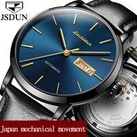 JSDUN Лидирующий бренд автоматические механические часы для мужчин пояса из натуральной кожи ремешок часы водонепроница
