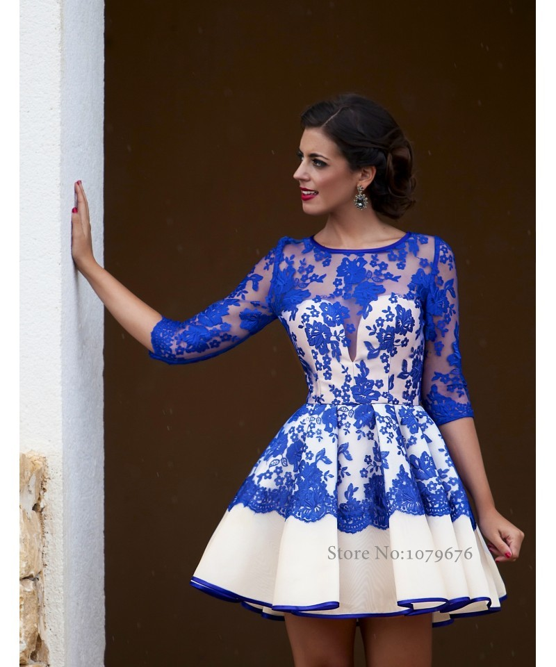 Fashionable Elegant Sheer Royal Blue Cocktail Dresses 2015 New ...