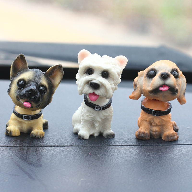 1pc Car Styling Accessories Cute Shaking Head Resin Cartoon Pet Ornaments Dogs Auto Interior Dashboard Desktop Decor Gifts