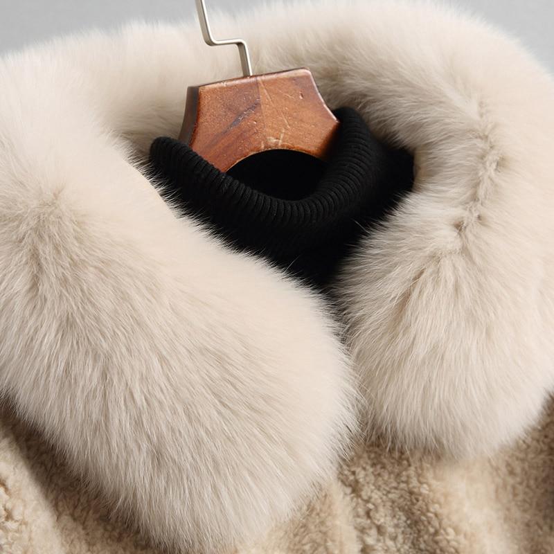 Des Fourrure D'hiver À Naturel Col Manteaux 18102 Femmes Wyq1886 Laine 2018 Réel Veste Tonte Capuchon Renard Ayunsue De Moutons Manteau Femelle Camel Longue 87CxgqwFpF