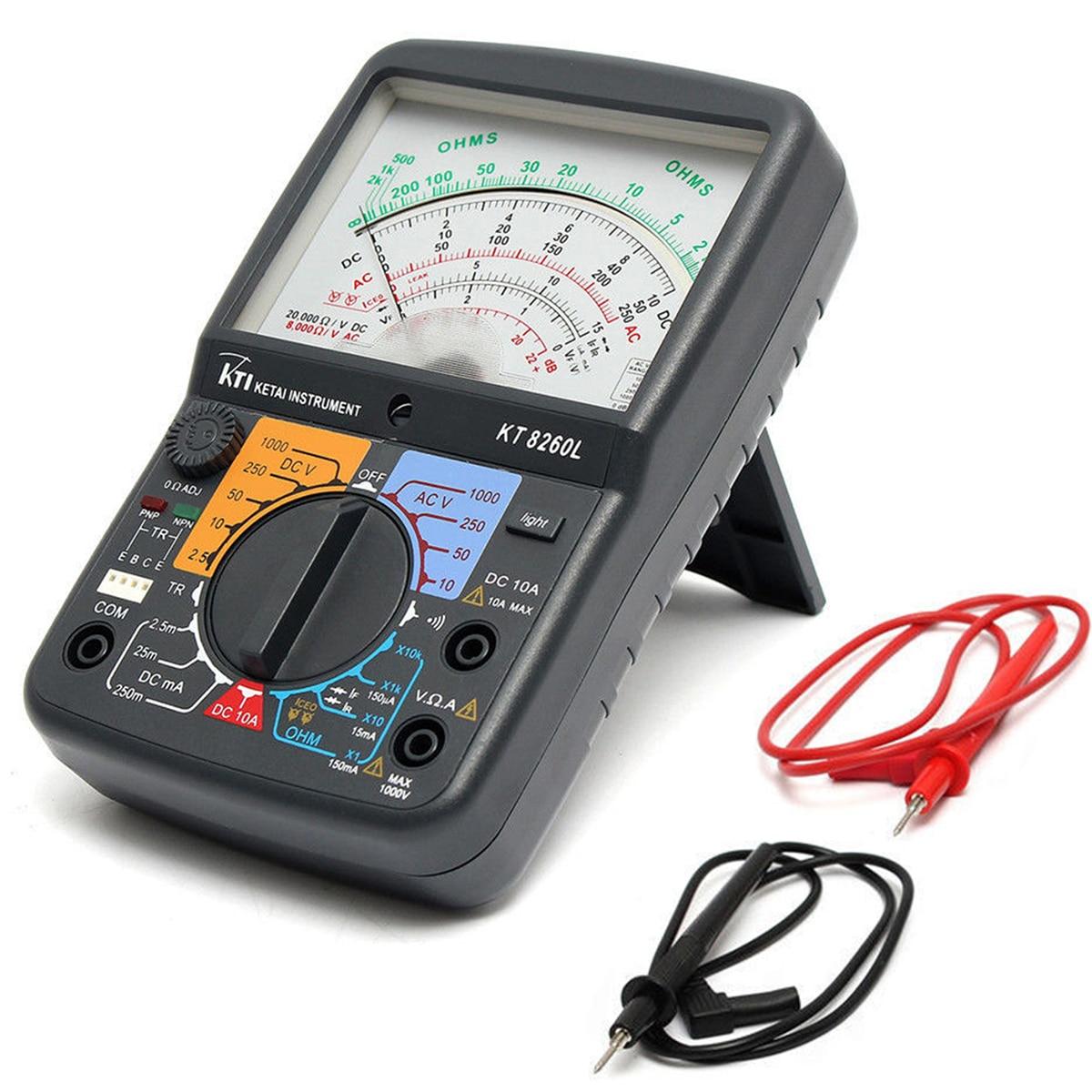KT8260LDigital Analog Multimeter ACV/DCV/DCA/Electric Resistance Tester  + 2pcs Test Pen For Measurment Tools