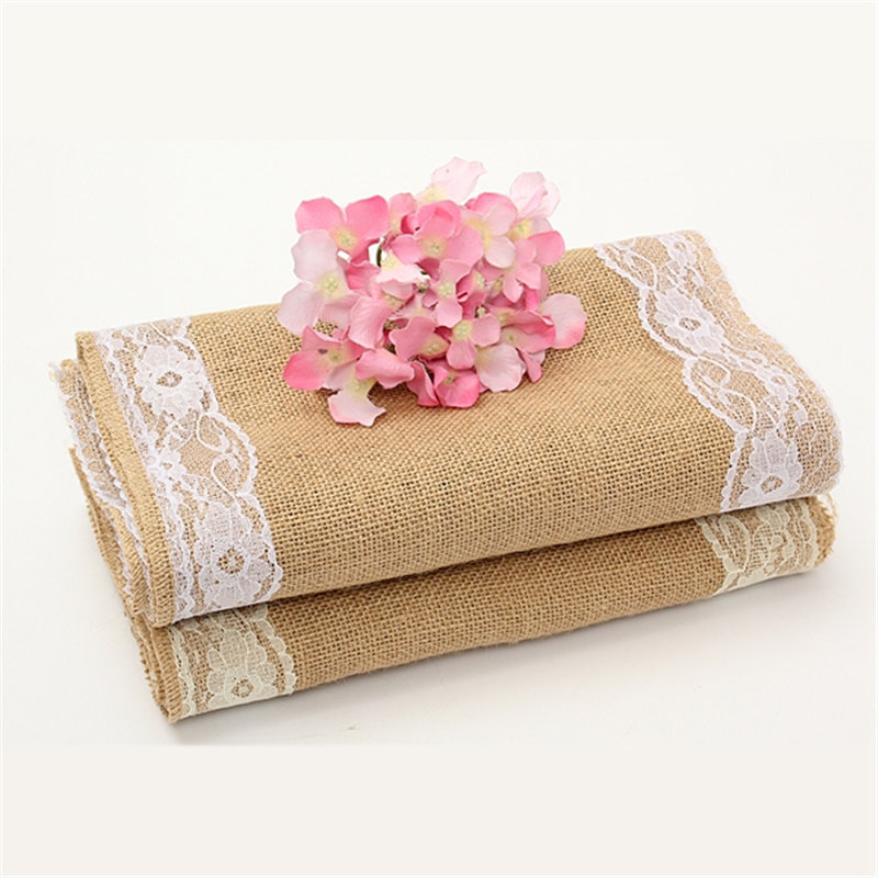 280x30cm Home Textile Vintage Burlap Lace Table Runner Natural Jute Country Party Banquet Wedding Decoration Top Quality