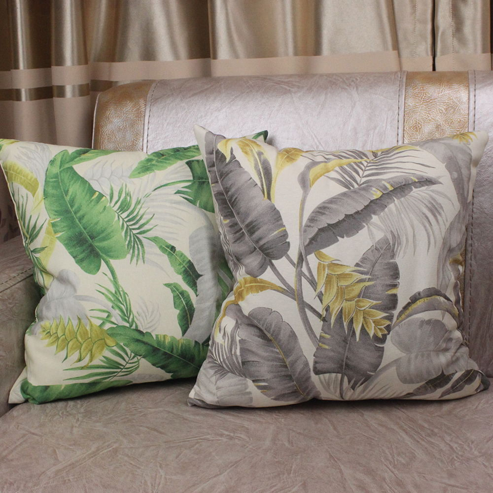 Summer Green Grey Forest Leaves Printed Throw Pillow Case Cover Store Home Decorative Square Nordic Cushion Covers for Sofa