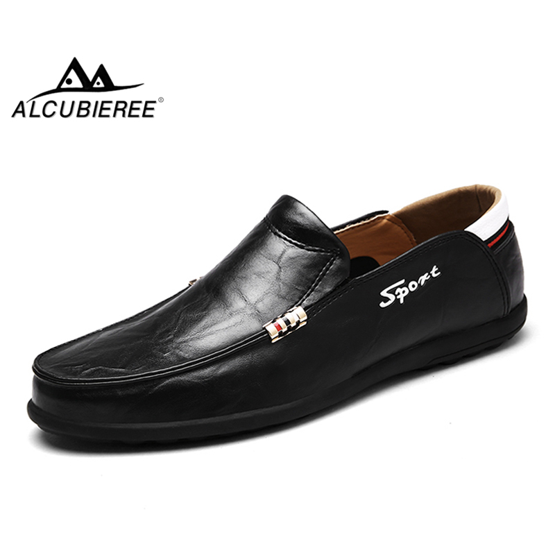 ALCUBIEREE Hot Sale Mens Loafers Men Slip On Moccasins Comfortable Driving Shoes Causal Leather Moccasin Shoes Male Boat Shoes genuine leather men shoes casual loafers slip on mens driving shoes flats moccasins comfortable leisure male hot fashion