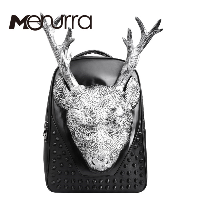 ФОТО Fashion 3D Deer head printed men backpacks large capacity men's leather backpack black rivet anime schoolbag mochila masculina