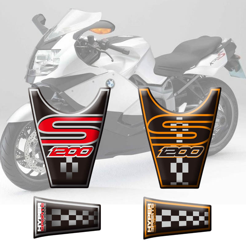 Motorcycle Tank Pad Protection 3D Rubber Stickers For  BMW K1200S 2004 05 06 07 08