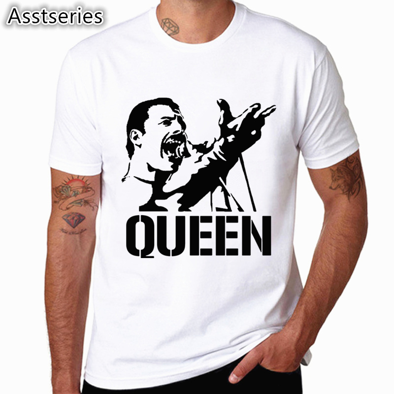 Freddie Mercury The Queen Band T-Shirt Mens Hip Hop Rock Hipster T Shirt Casual Tshirts harajuku Top Tees HCP4535