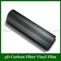 Tamanho alta Qualidade: 1.52*30 m/Roll Cinza 3D Fibra De Carbono Vinyl Film Fibra De Carbono Film Com ar Livre + 1 pcs Livremente Scraper Ferramenta