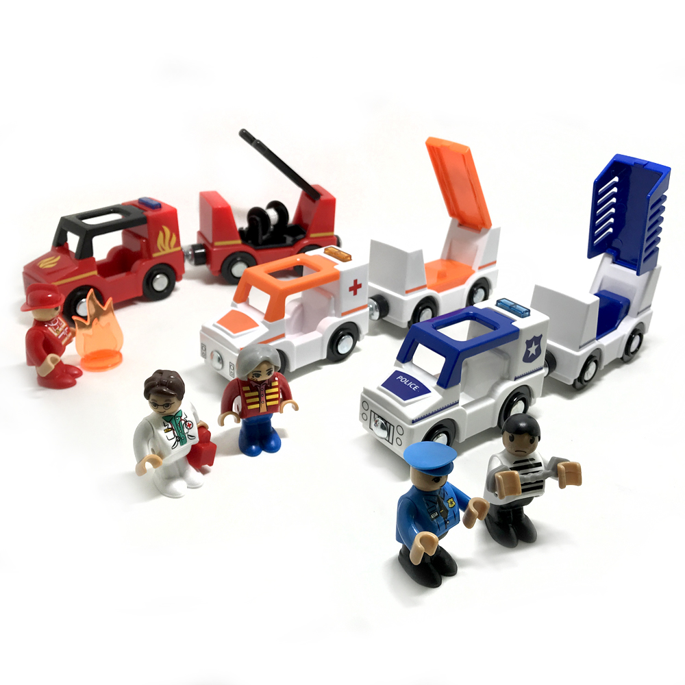 free shipping sound and light of magnetic train car ambulance police car fire truck compatible Thomas wood track Children's