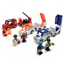 O envio gratuito de som e luz de trem magnético carro ambulância carro da polícia caminhão de bombeiros compatível brio pista de madeira das Crianças brinquedos